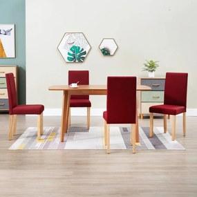 248973 vidaXL Cadeiras de jantar 4 pcs tecido vermelho tinto