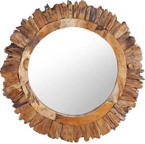 Espelho de parede redondo 60 cm madeira de teca