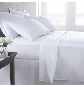 Jogo de lençóis 100% algodão percal branco 200 fios: 1 lençol de baixo ajustavel 140x200+30 cm + 1 lençol de cima 220x290 cm + 2 fronhas 50x70 cm fecha com pala interna