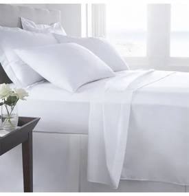 Jogo de lençóis 100% algodão percal branco 200 fios: cama 135/140cm - 1 lençol superior 240 x 290 cm+ 1 lençol de baixo 240 x 290 cm + 2 fronhas almofadas 50x70 cm