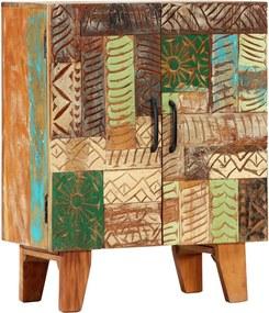 Aparador esculpido à mão 60x30x75 cm madeira recuperada maciça