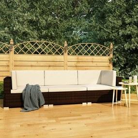 47265 vidaXL 3 pcs conjunto sofás de jardim c/ almofadões vime PE castanho