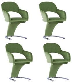 3056583 vidaXL Cadeiras de jantar 4 pcs veludo verde