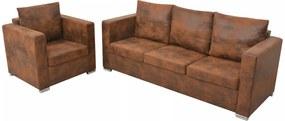 Conjunto de sofás 2 pcs camurça sintética