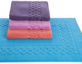 Tapete de banho 50x80 cm - 850 gr/m2 - 100% algodão Lasa-Home: Col. 2998 sky Blue / Turquesa