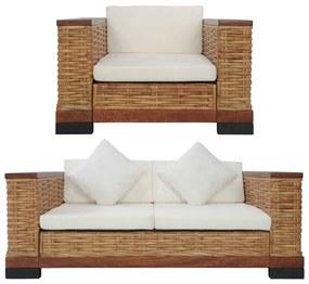 278618 vidaXL 2 pcs conjunto de sofás com almofadões vime natural castanho