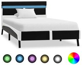 280302 vidaXL Estrutura de cama c/ LED 90x200 cm couro artificial preto