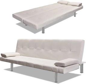 Sofa-cama ajustável c/ 2 almofadas couro artificial branco nata