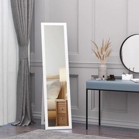 HOMCOM Espelho de pé de Corpo Inteiro Retangular Espelho de Parede com 2 Formas de Uso para Dormitórios Sala de Estar Corredor 37x48x152cm Branco