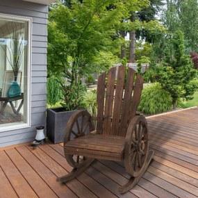 Outsunny Cadeira de balanço de madeira para terraço Poltrona de balanço ao ar livre 88x68x97cm