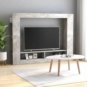 Móvel de TV 152x22x113 cm contraplacado cinzento cimento