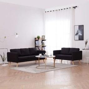 2 pcs conjunto de sofás tecido preto