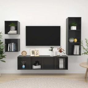 3079780 vidaXL 4 pcs conjunto de móveis de TV contraplacado cinzento brilhante