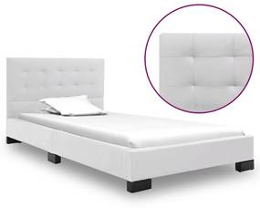 280632 vidaXL Estrutura de cama 90x200 cm couro artificial branco