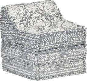 Sofá lounge modular tecido cinzento-claro