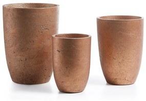 Kave Home - Conjunto Low de 3 vasos cobre