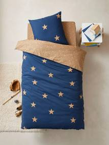 Conjunto capa de edredon + fronha de almofada para criança, tema Dream big azul escuro estampado