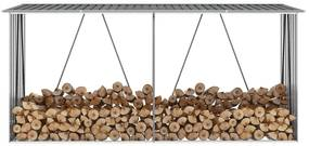44859 vidaXL Abrigo jardim p/ arrumação de troncos aço 330x84x152cm cinzento