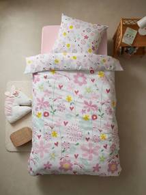 Conjunto capa de edredon + fronha de almofada para criança, tema Flores e libélulas branco claro liso com motivo