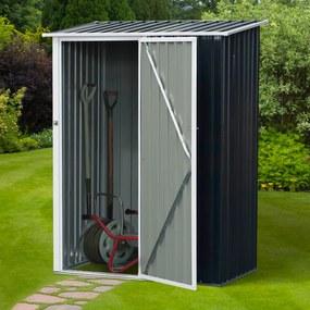 Outsunny Galpão de armazenamento para jardim armazém para ferramentas com telhado inclinado de aço galvanizado 143x89x186cm Cinza