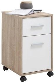 428778 FMD Armário de gavetas móvel cor carvalho e branco