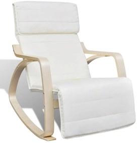 241434 vidaXL Cadeira de baloiço madeira curvada ajustável, tecido creme