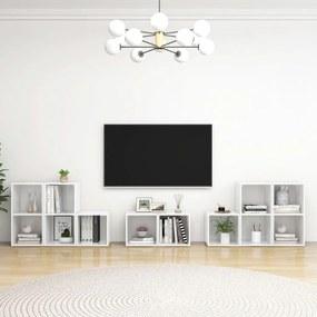 3080066 vidaXL 8 pcs conjunto de móveis de TV contraplacado branco brilhante