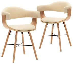 283140 vidaXL Cadeiras de jantar 2 pcs couro artificial/madeira curvada creme