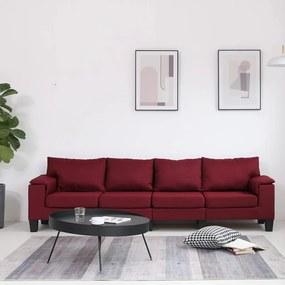 287098 vidaXL Sofá de 4 lugares em tecido vermelho tinto