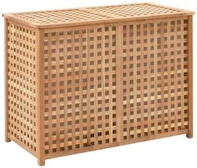 247604 vidaXL Cesto para roupa suja 87,5x46x67 cm madeira de nogueira maciça