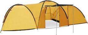 Tenda iglu de campismo 650x240x190 cm 8 pessoas amarelo