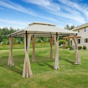 Outsunny Pérgola de jardim 3x4 m estrutura de aço telhado Duplo 6 Cortinas Laterais 8 Orifícios de Drenagem Boa Ventilação para Festas Eventos Creme