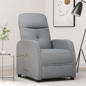 289826 vidaXL Poltrona de massagens reclinável tecido cinzento-claro
