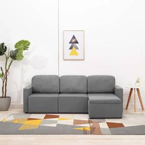 Sofá-cama modular de 3 lugares tecido cinzento-claro