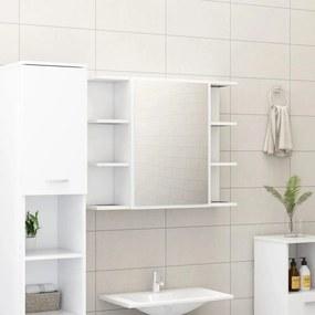 Armário casa banho c/ espelho 80x20,5x64cm contraplacado branco