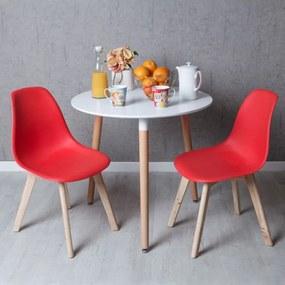 Conjunto Mesa Tower Redonda 80 cm Branca e Pack 2 Cadeiras Kelen