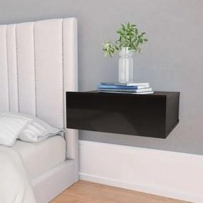 Mesa de cabeceira suspensa 40x30x15 cm contrap. preto brilhante
