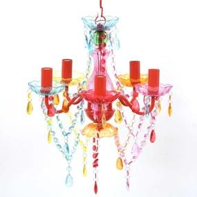240311 vidaXL Lustre multicolor com 5 bulbos