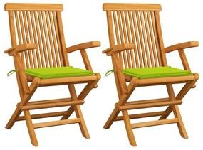 3062498 vidaXL Cadeiras jardim c/ almofadões verde brilhante 2 pcs teca maciça