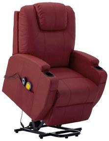 289761 vidaXL Poltrona elevável de massagens couro artificial vermelho tinto