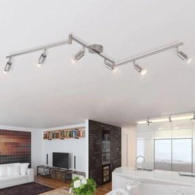 50468 vidaXL Candeeiro de teto com 6 focos LED em níquel acetinado