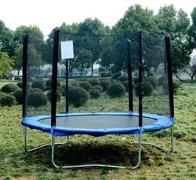 HOMCOM Cama Elástica Ø244cm com Rede de Segurança Conjunto de trampolim para Jardim Carga máx. 100kg Azul e Preto