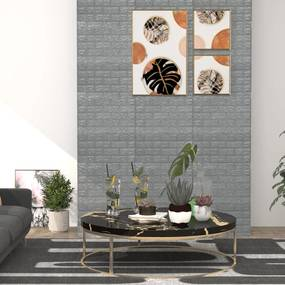 150723 vidaXL Papel de parede 3D autoadesivo tijolos 40 pcs antracite