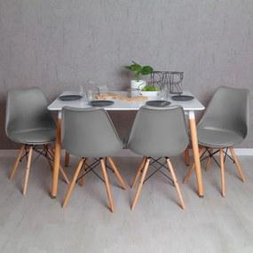Conjunto Mesa Tower Retangular 120 x 80 cm Branca e Pack 4 Cadeiras Tilsen