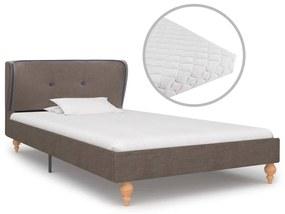 277370 vidaXL Cama com colchão 90x200 cm tecido cinzento-acastanhado