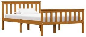 283240 vidaXL Estrutura de cama 120x200 cm pinho maciço castanho mel