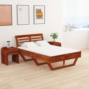 Estrutura de cama 120x200 cm madeira de acácia maciça