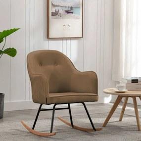 289526 vidaXL Cadeira de baloiço veludo castanho