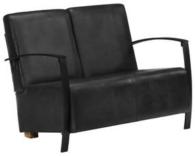 Sofá de 2 lugares em couro genuíno preto