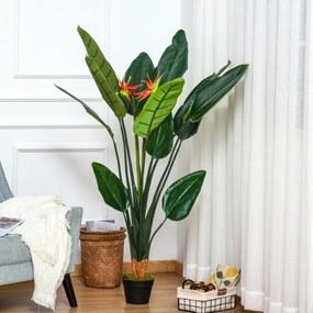 Outsunny Planta Artificial Ave do Paraíso com Vaso Strelitzia Reginae Sintética com 13 Folhas e 2 Flores Ø18x155 cm Verde e Vermelho